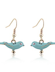 Enamel Blue Birds Earrings