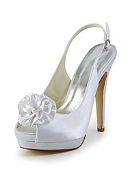 Satin Stiletto Heel Peep Toe Sandals With Satin Flower Wedding Shoes(More Colors)