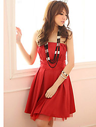 Holiday Lady Women's Fashion Red Strapless Short Dress
