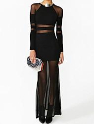Vestido de malla Maxi Translucent atractiva de las mujeres