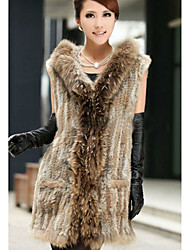 Fur Vest With Sleeveless Hooded Rabbit Fur Casual Vest(More Colors)