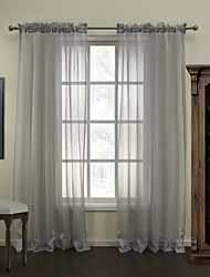 Modern Grey Stripe Polyester Sheer Curtain (Two Panels)