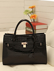 Lady Fashion Elegant Crocodile Veins PU Leather Tote/Crossbody Bag(Black)