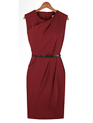MFL Solid Red Elegant Dress(Free Belt)