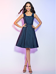 TS Couture® Cocktail Party / Holiday Dress - Dark Navy Plus Sizes / Petite A-line Straps Knee-length Taffeta