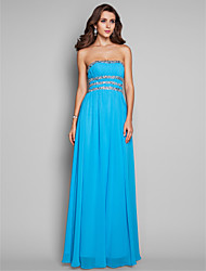 Prom / Formal Evening / Military Ball Dress - Open Back A-line / Princess Strapless Floor-length Chiffon with Beading / Draping / Sequins