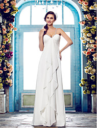 Sheath / Column Spaghetti Straps Floor Length Chiffon Wedding Dress with Beading Side-Draped by LAN TING BRIDE®