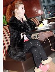 Elegante abrigo de piel de imitación de las mujeres
