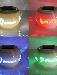 Chic Ceramic Music Pattern LED Solar Powered Garden Light -Solar Table Light- Solar Small Night Light In Jar Design