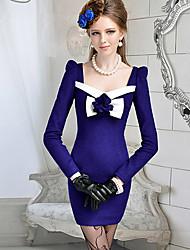 Women's Dresses , Polyester/Wool Casual/Work DABUWAWA