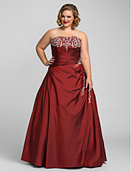 TS Couture Plus Size Prom Formal Evening Quinceanera Dress - Open Back A-line Ball Gown Princess Strapless Floor-length Taffeta