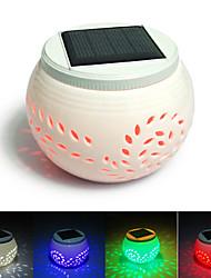 Leaves Pattern Hollowed-Out White LED Solar Powered Garden Light -Solar Table Light- Solar Small Night Light In Jar Design