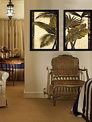Blad van de tropische plant Framed doek Set van 2