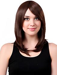 Capless Medium Synthetic Brown Straight Hair Wig Side Bang