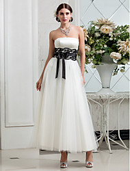 Lanting Bride A-line Petite / Plus Sizes Wedding Dress-Ankle-length Strapless Satin / Tulle