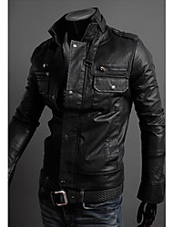 Langdeng Casual Zipper Leather Slim Stand Collar Jacket(Black)