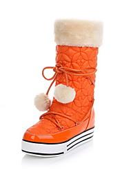 Zapatos de mujer - Plataforma - Plataforma / Botas de Nieve - Botas - Casual - Satén / Cuero Patentado - Negro / Azul