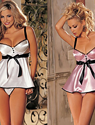 Sexy Babydoll White/Pink Satin lingeries