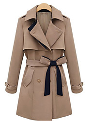 Muyan Women's Lapel Neck Elegant Bow Coat