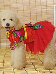 Elegante estilo chinês vestido de casamento para Animais de estimação Cães (tamanhos variados)