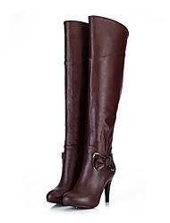 Brown Pu pelle tacco a spillo di Medd donne stivali sopra il ginocchio (9,5 centimetri)