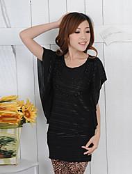 Zhensiman curto Ruffle luva cor sólida Bodycon T-shirt longo (preto)