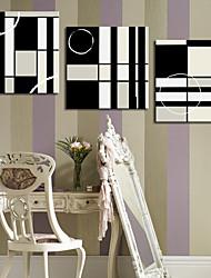 Reproduction transférée sur toile art abstrait en noir et blanc de places Lot de 3