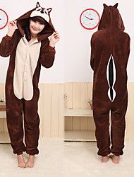 Kigurumi Pajamas Chipmunk / Mouse Leotard/Onesie Halloween Animal Sleepwear Brown Patchwork Coral fleece Kigurumi Unisex Halloween