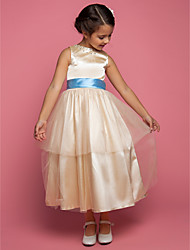 A-line/Princess Ankle-length Flower Girl Dress - Stretch Satin/Tulle Sleeveless