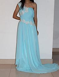 Qiandu Elegant One Shoulder High Waist Diamonade Chapel Train Dress(Partten and Beads Randomly)