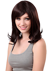 Capless Medium Synthetic Brown Curly Hair Wig Side Bang