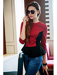 TS Contrast Color Wasp Waist Three Quarter Sleeve Jersey Blouse