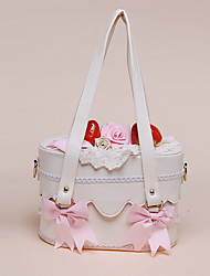 Handmade Baby Pink Roses und Bowknots PU Leder Weiß Sweet Lolita Bag