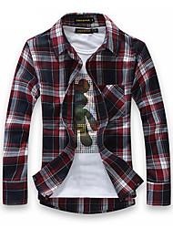 MEIKEPAIM Classic Check cepillado planchado Gratis Camisa de manga larga