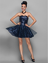 Cocktail Party / Homecoming / Prom / Holiday Dress - Dark Navy Plus Sizes / Petite A-line / Princess Notched Short/Mini Sequined / Tulle