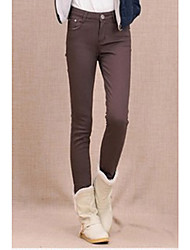 Frauen Einfachheit Grund elastischen velet Mitte Taille gelbe Jeans Hosen