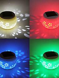 Flower Pattern Hollowed-Out LED RGB Solar Powered Garden Light -Solar Table Light- Solar Small Night Light In Jar Design