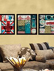 Color of Union Jack Still Life Framed Canvas Print Set of 3