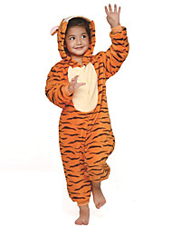 Kigurumi Pajamas Tiger Leotard/Onesie Festival/Holiday Animal Sleepwear Halloween Orange Patchwork Flannel Kigurumi For Kid Halloween