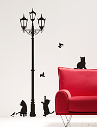 Animal Cats under Street Light Wall Stickers