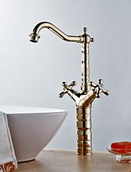 Modern Design Two Handles Golden Ti-PVD Bathroom Sink Faucet
