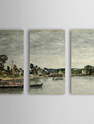 Hand Painted Oil Painting Landscape Small Bay with Stretched Frame Set of 3 1311-LA1145