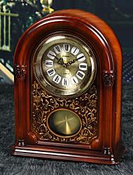 "13""Retro Type Brown Analog Polyresin Tabletop Clock"
