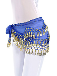 Belly Dance Belt Women's Training Chiffon Coins 1 Piece Hip Scarf