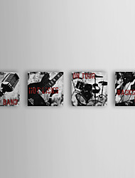 Stretched Canvas Art Music Rock n Roll by Color Bakery Set of 4