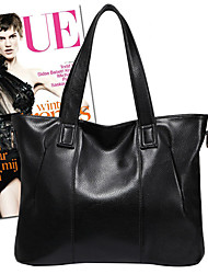 MIQIANLIN Casual Genuines Leather Tote/Messenger Bag(Black)