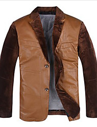 Knya Men'S Korea Leather Jacket Khaki
