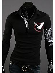 VSKA Männer Tercel Print Fit Langarm Revers Neck Polo-Shirt