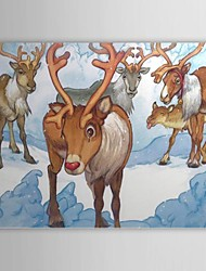 Christmas Holiday Gift Oil Painting Rudolph Ready to Hang