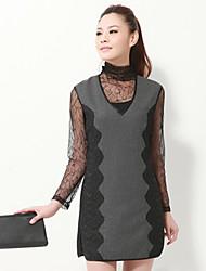 Encaje Vestido gris Tweed Polka Dot de unifo Mostrar Mujeres